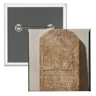 Stele dedicated to Isis depicting Cleopatra 2 Inch Square Button