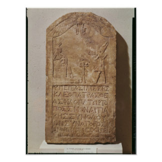 Stele dedicated to Isis depicting Cleopatra Poster