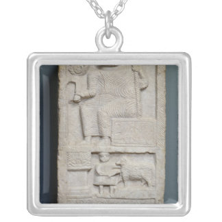 Stele dedicated to Saturn, from El-Ayaida Silver Plated Necklace