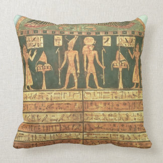 Stele of Horsiese, Late Period (painted wood) Throw Pillow