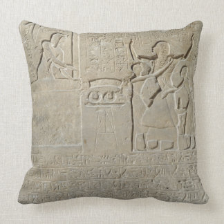 Stele of the necklaces Hormin receiving the gold Throw Pillow