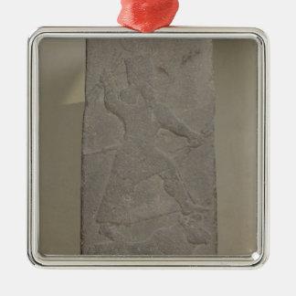 Stele que representa a tormenta-dios Adad Adorno Navideño Cuadrado De Metal