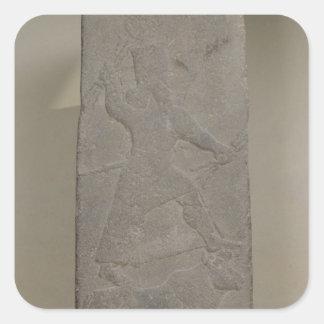 Stele que representa a tormenta-dios Adad Pegatina Cuadrada