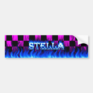 Stella blue fire and flames bumper sticker design. car bumper sticker