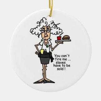 Stella con humor de la actitud adorno navideño redondo de cerámica