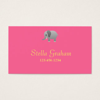 Stella Elephant Pink Grey Business Cards