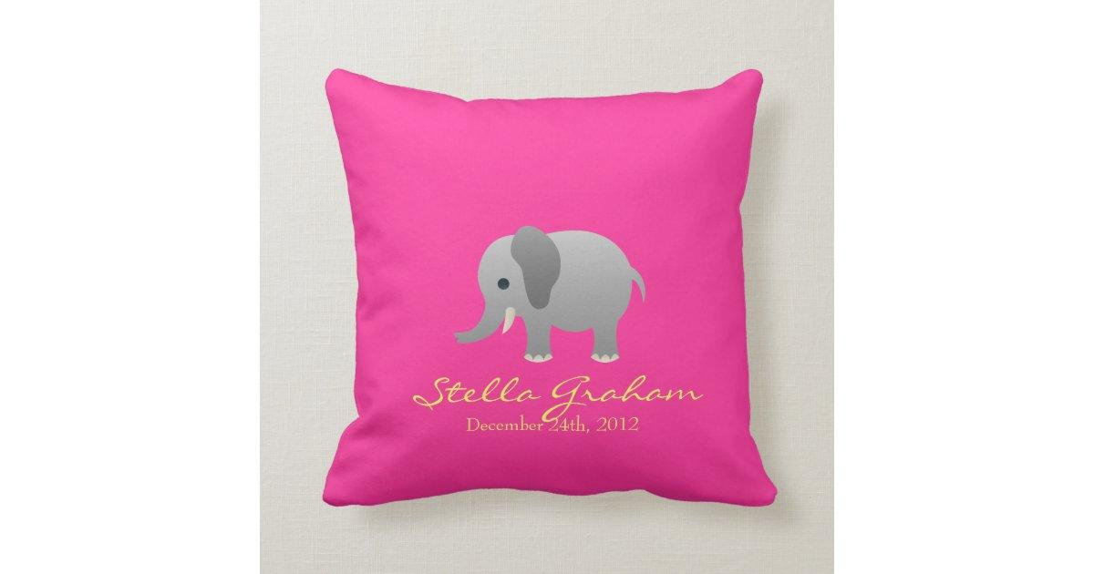Stella Elephant Pink Grey Pillow Zazzle