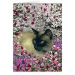 Stella en flores I - gato siamés poner crema del c Tarjetón