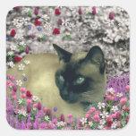 Stella en flores I - gato siamés poner crema del Colcomanias Cuadradas Personalizadas