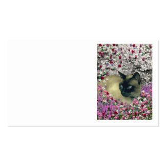 Stella en flores I - gato siamés poner crema del Tarjetas De Visita