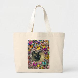 Stella in Butterflies Chocolate Point Siamese Cat Jumbo Tote Bag