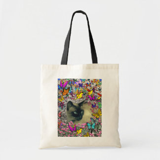 Stella in Butterflies Chocolate Point Siamese Cat Budget Tote Bag