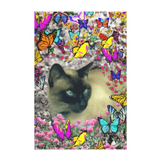 Stella in Butterflies Chocolate Point Siamese Cat Canvas Print