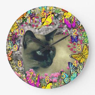 Stella in Butterflies Chocolate Point Siamese Cat Wall Clock