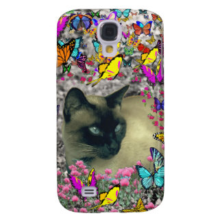 Stella in Butterflies Chocolate Point Siamese Cat Galaxy S4 Case