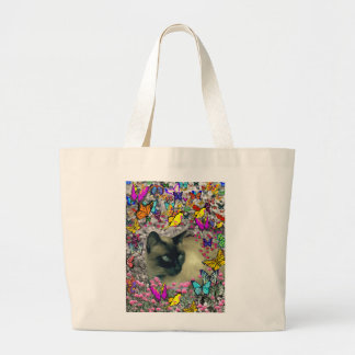Stella in Butterflies Chocolate Point Siamese Cat Large Tote Bag