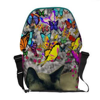 Stella in Butterflies Chocolate Point Siamese Cat Courier Bags