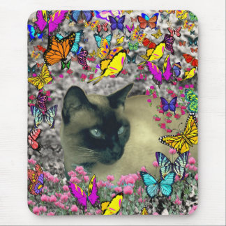 Stella in Butterflies Chocolate Point Siamese Cat Mouse Pad