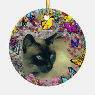 Stella in Butterflies Chocolate Point Siamese Cat Christmas Ornament