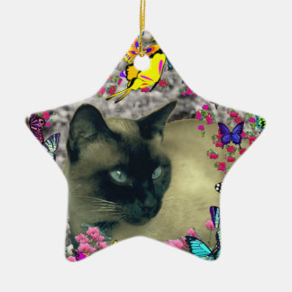 Stella in Butterflies Chocolate Point Siamese Cat Christmas Tree Ornament