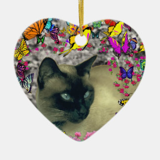 Stella in Butterflies Chocolate Point Siamese Cat Ornaments