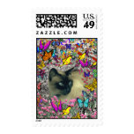 Stella in Butterflies Chocolate Point Siamese Cat Postage Stamp