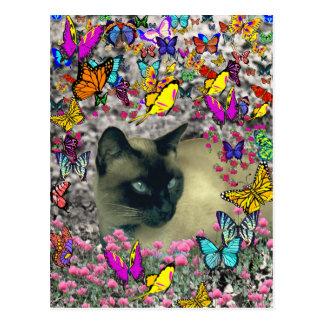 Stella in Butterflies Chocolate Point Siamese Cat Postcard