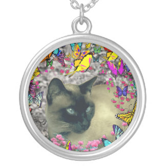 Stella in Butterflies Chocolate Point Siamese Cat Round Pendant Necklace