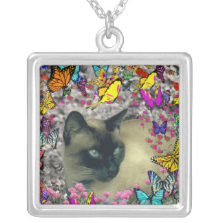 Stella in Butterflies Chocolate Point Siamese Cat Square Pendant Necklace