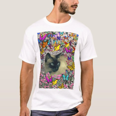Stella in Butterflies Chocolate Point Siamese Cat T-Shirt