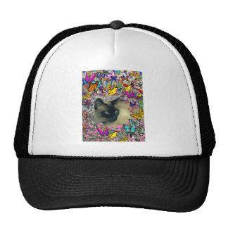 Stella in Butterflies Chocolate Point Siamese Cat Trucker Hat