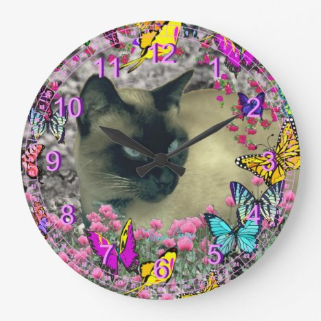 Stella in Butterflies – Chocolate Siamese Cat Large Clock