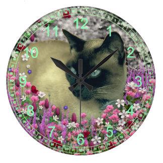 Stella in Flowers – Chocolate Cream Siamese Cat Large Clock