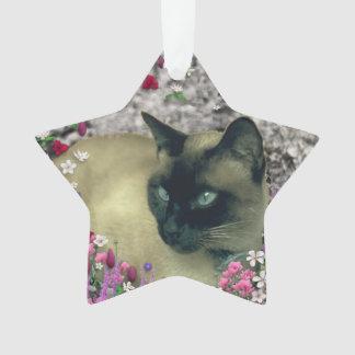 Stella in Flowers I, Chocolate & Cream Siamese Cat