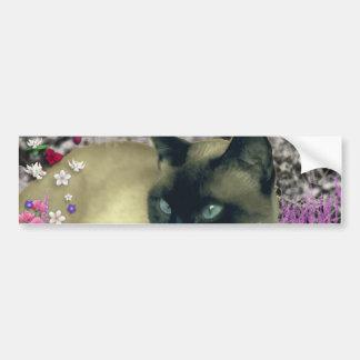 Stella in Flowers I – Chocolate Cream Siamese Cat Car Bumper Sticker