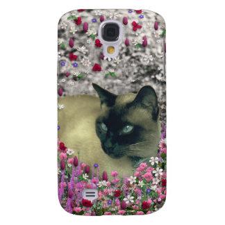 Stella in Flowers I – Chocolate Cream Siamese Cat Galaxy S4 Covers
