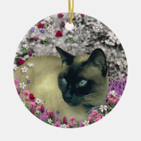 Stella in Flowers I – Chocolate Cream Siamese Cat Ceramic Ornament