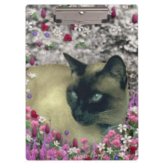 Stella in Flowers I, Chocolate & Cream Siamese Cat Clipboard