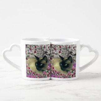 Stella in Flowers I, Chocolate & Cream Siamese Cat Coffee Mug Set