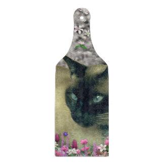 Stella in Flowers I, Chocolate & Cream Siamese Cat Cutting Board
