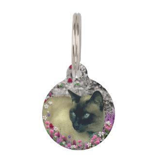 Stella in Flowers I, Chocolate & Cream Siamese Cat Pet Name Tag