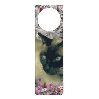 Stella in Flowers I, Chocolate & Cream Siamese Cat Door Knob Hanger