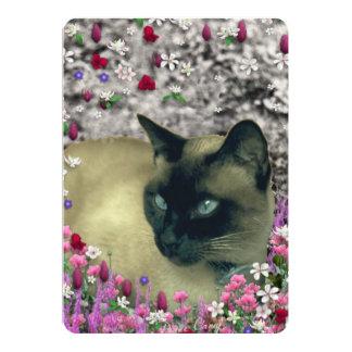 "Stella in Flowers I, Chocolate & Cream Siamese Cat 5"" X 7"" Invitation Card"