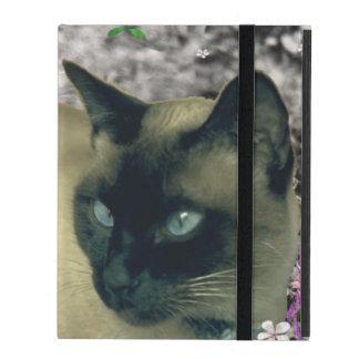 Stella in Flowers I, Chocolate & Cream Siamese Cat iPad Cover