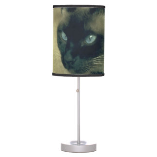 Stella in Flowers I, Chocolate & Cream Siamese Cat Table Lamps