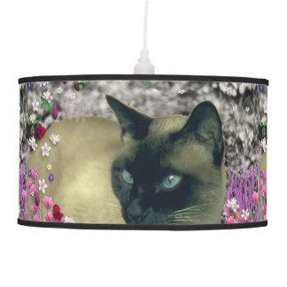Stella in Flowers I, Chocolate & Cream Siamese Cat Hanging Pendant Lamp
