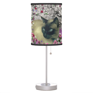 Stella in Flowers I, Chocolate & Cream Siamese Cat Desk Lamps