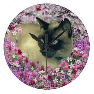 Stella in Flowers I – Chocolate Cream Siamese Cat Large Clock
