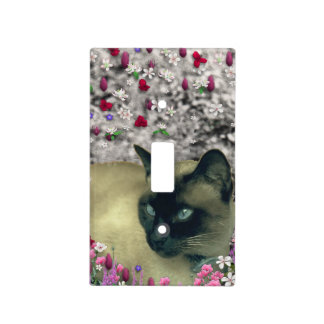 Stella in Flowers I, Chocolate & Cream Siamese Cat Light Switch Plates