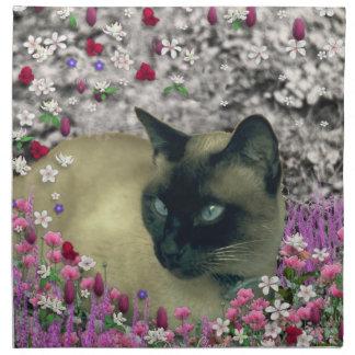 Stella in Flowers I – Chocolate Cream Siamese Cat Cloth Napkin